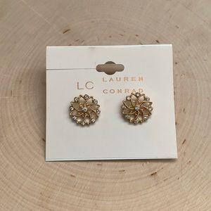 Lauren Conrad Gold Crystal Filigree Flower Earring